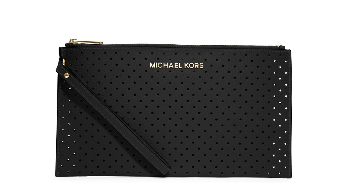 efc037ab85c1 Lyst - Michael Kors Large Jet Set Perforated Zip Clutch in Black