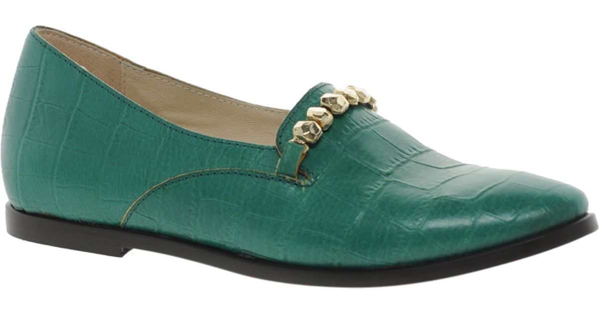New kid Exclusive Elma Slip Emerald Croc Flat Shoes in Green | Lyst
