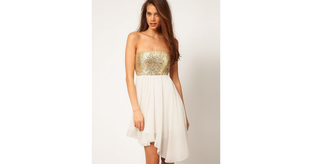 91d754ee784 ASOS Collection Sequin Bandeau Dress with Chiffon Skirt in White - Lyst
