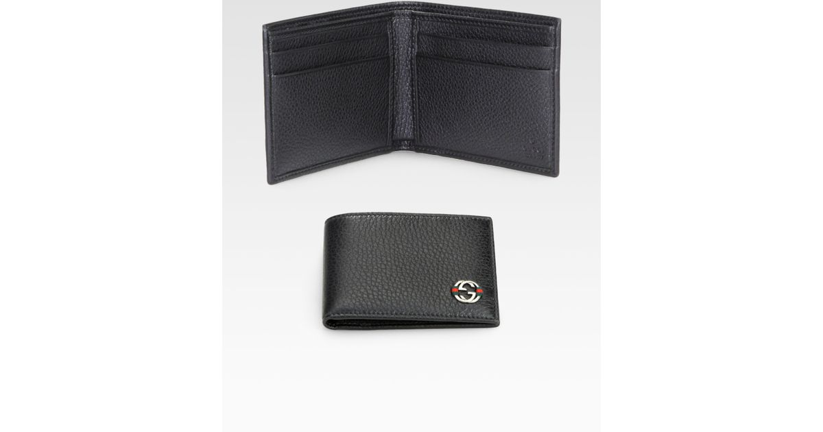 6e3ec0cbcca739 Gucci Ace Leather Small Bifold Wallet in Black for Men - Lyst