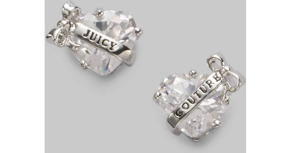 Lyst - Juicy Couture Heart Banner Stud Earringssilver in Metallic 57961015d