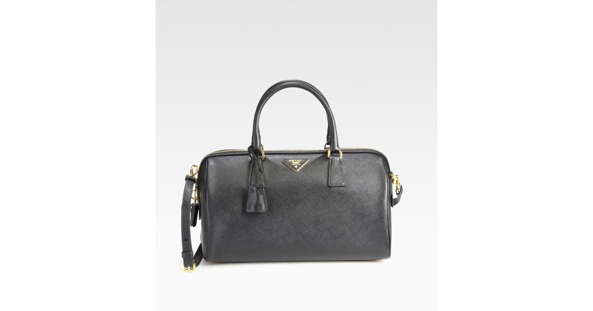c53cf6ddf66a Prada Convertible Saffiano Lux Boston Bag in Black - Lyst