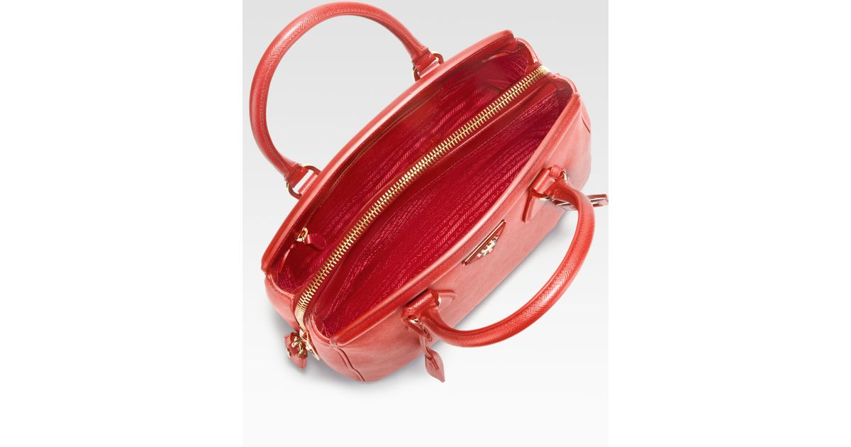 b40c33cfdbfa ... czech lyst prada saffiano zip promenade top handle bag in red 53839  eedb9