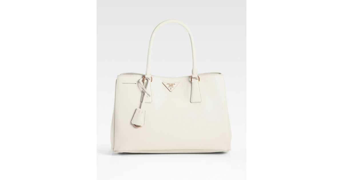 3b5d5d118ad0 Lyst - Prada Saffiano Medium Tote Bag in White