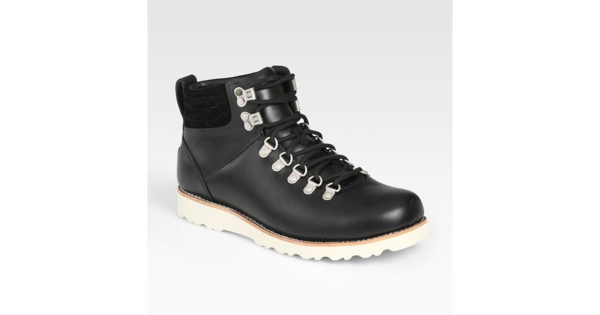 ugg capulin leather boots in black for lyst
