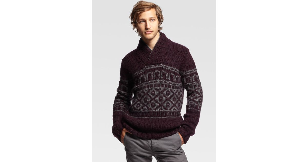 Rag & bone Chatsworth Fair Isle Sweater in Purple for Men | Lyst