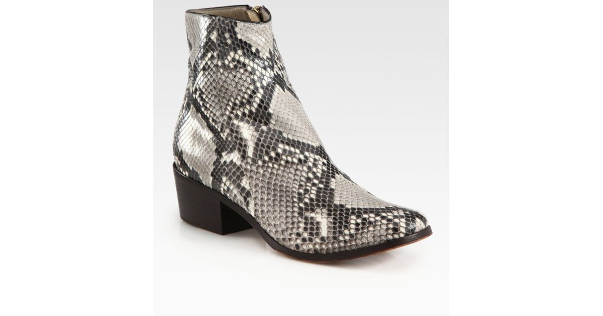 0589dff713 ... purchase lyst jimmy choo brianna python ankle boots in natural 68a44  3b8a9