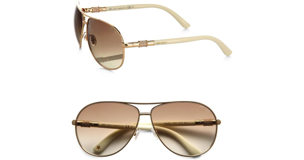 e2d53aa9e06e Lyst - Jimmy Choo Waldes Aviator Sunglasses in Metallic