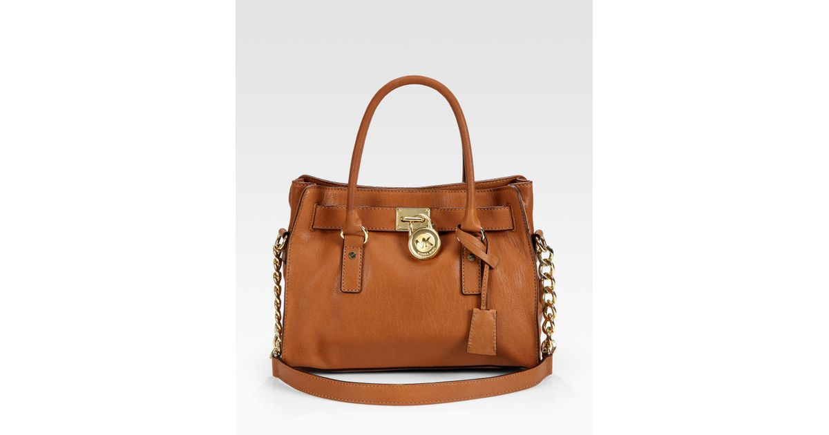 Michael Kors Hamilton Laukku : Michael kors hamilton satchel in brown lyst