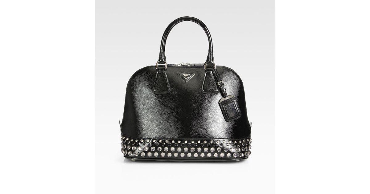 3b6491343566 Prada Saffiano Vernice Embellished Medium Promenade Top Handle Bag in Black  - Lyst