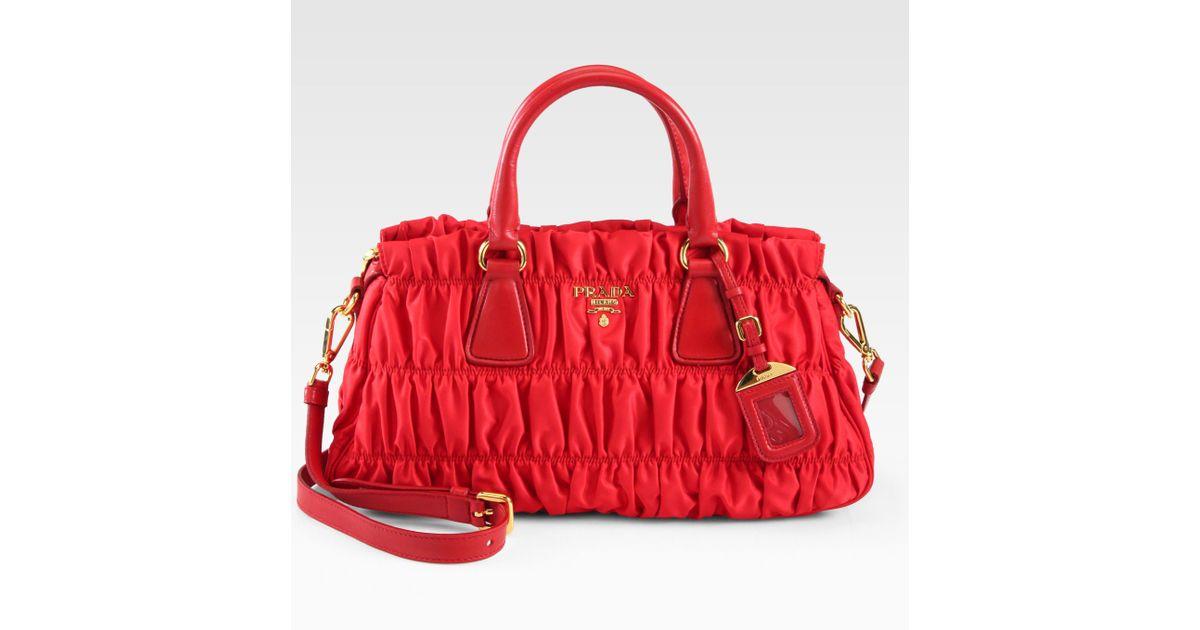 fa7972243c75 Lyst - Prada Tessuto Gaufre Satchel in Red