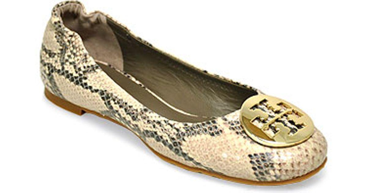 5dab9240bc89a Lyst - Tory Burch Reva Natural Snake Print Ballet Flat in Natural