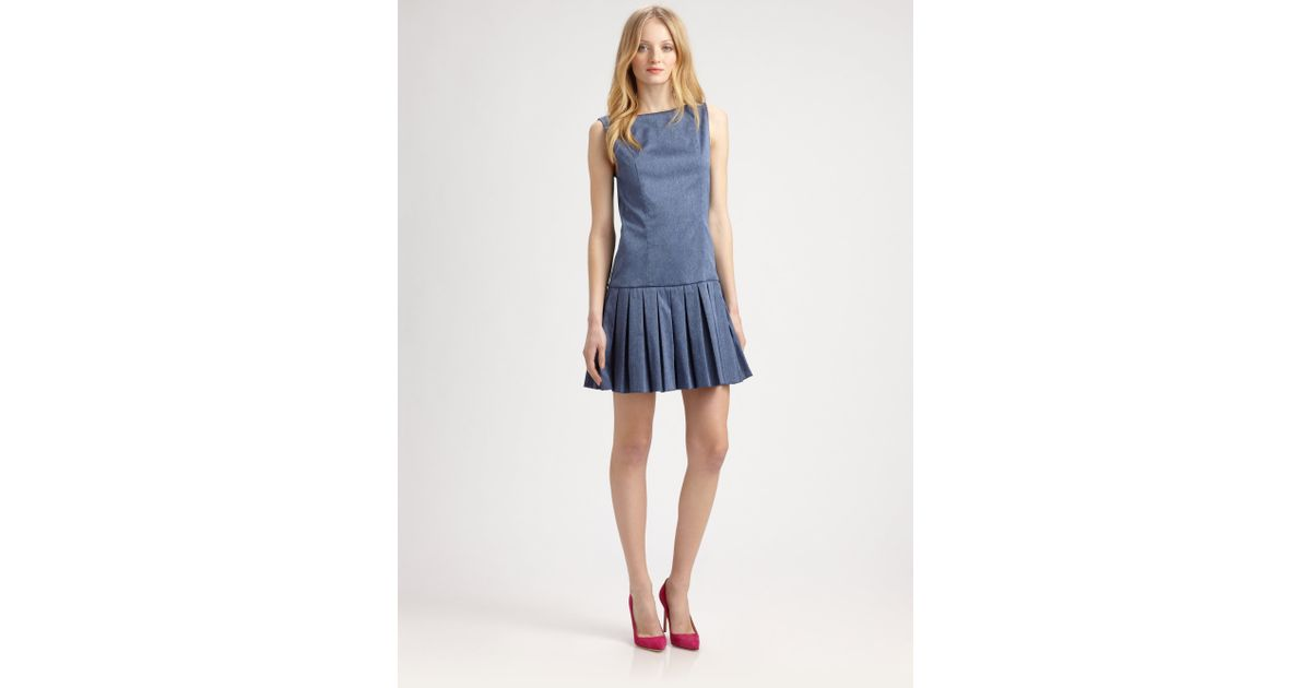 585f79268d Lyst - Alice + Olivia Harper Dropwaist Pleated Dress in Blue