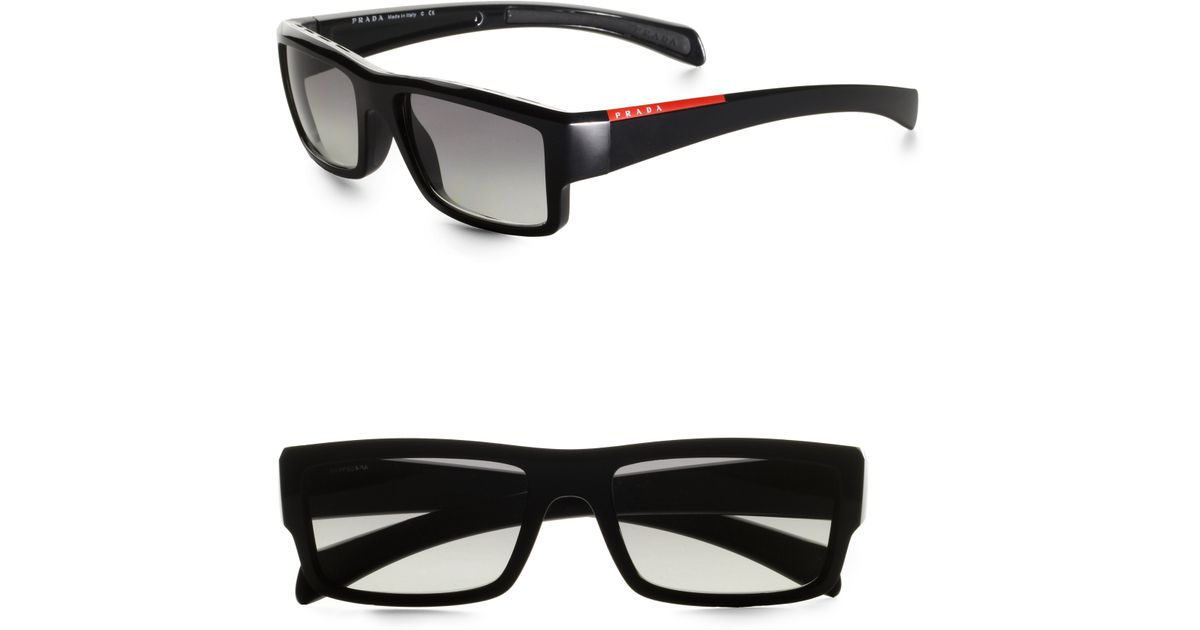 c7c71760d276 ... discount code for lyst prada rectangular sunglasses in black for men  1bcd3 a86c7