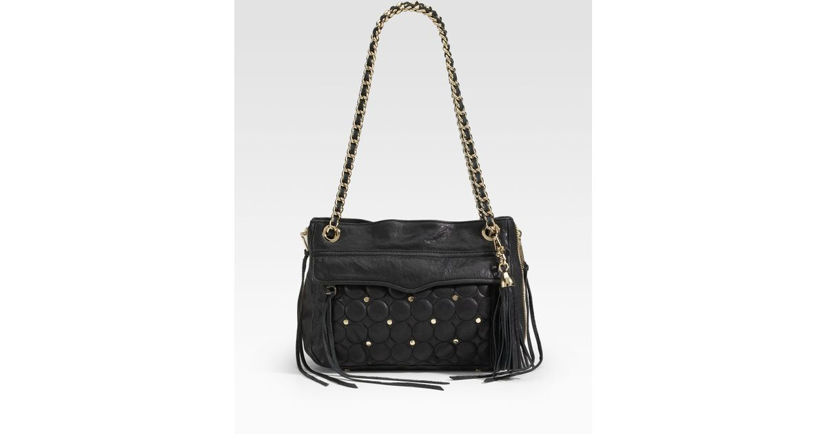 f33f23ec592e Lyst - Rebecca Minkoff Swing Double Zip Studded Chain Shoulder Bag in Black