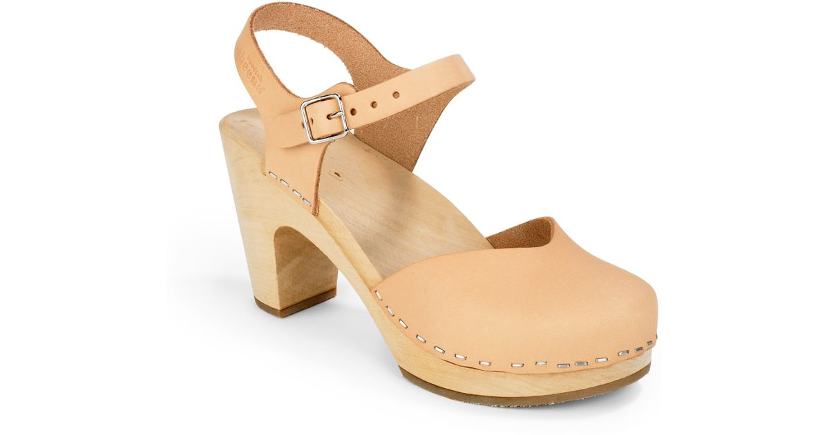 65608215e3c4 Lyst - Swedish Hasbeens Covered Super High Wood Clog Sandals in Natural