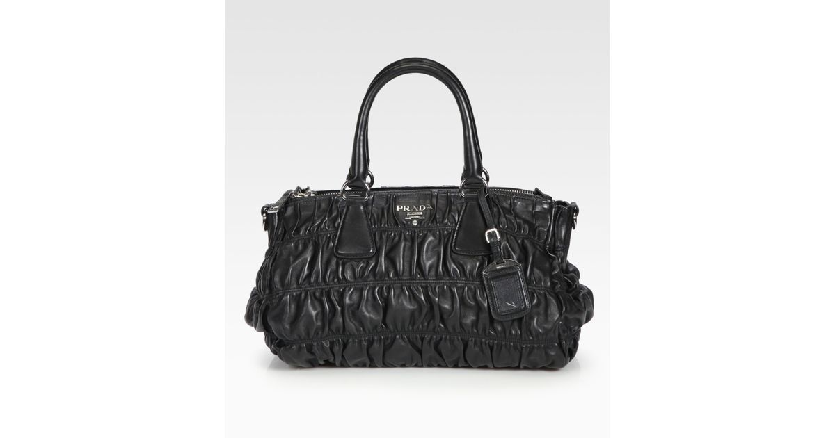 be95ab9e8 Prada Nappa Gaufre Ruched Leather Tote in Black - Lyst