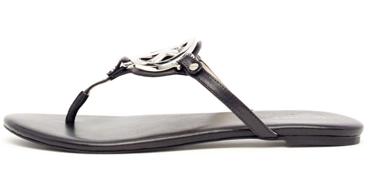 da882047c153 Lyst - Michael Kors Melodie Logo Thong Sandals in Black