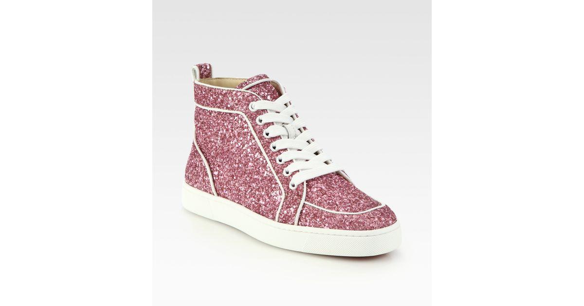 5b3c632a948c Lyst - Christian Louboutin Rantus Orlato Glitter Sneakers in Pink