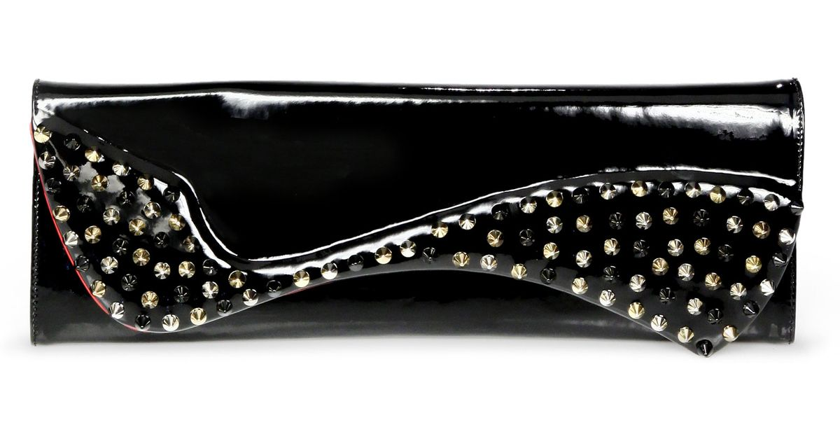 ec57c4eaaec Christian Louboutin Pigalle Studded Patent Leather Clutch in Black - Lyst