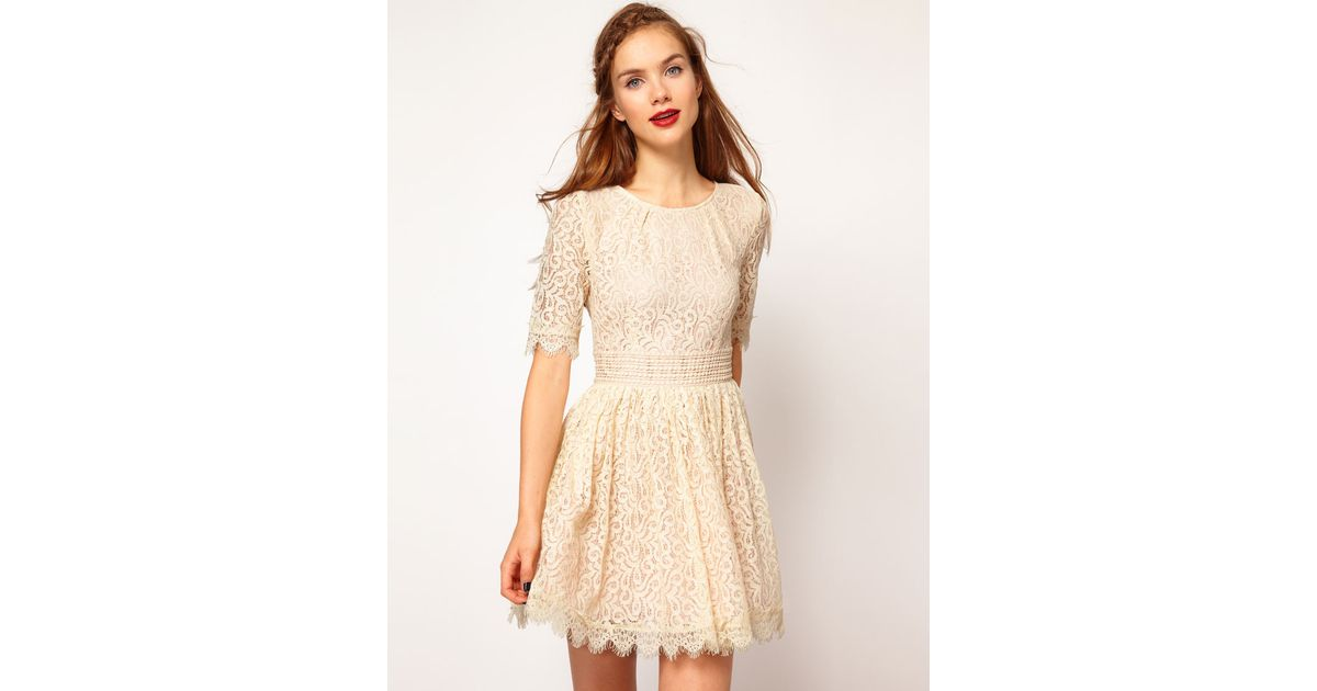 Darling lace cotton smock dress