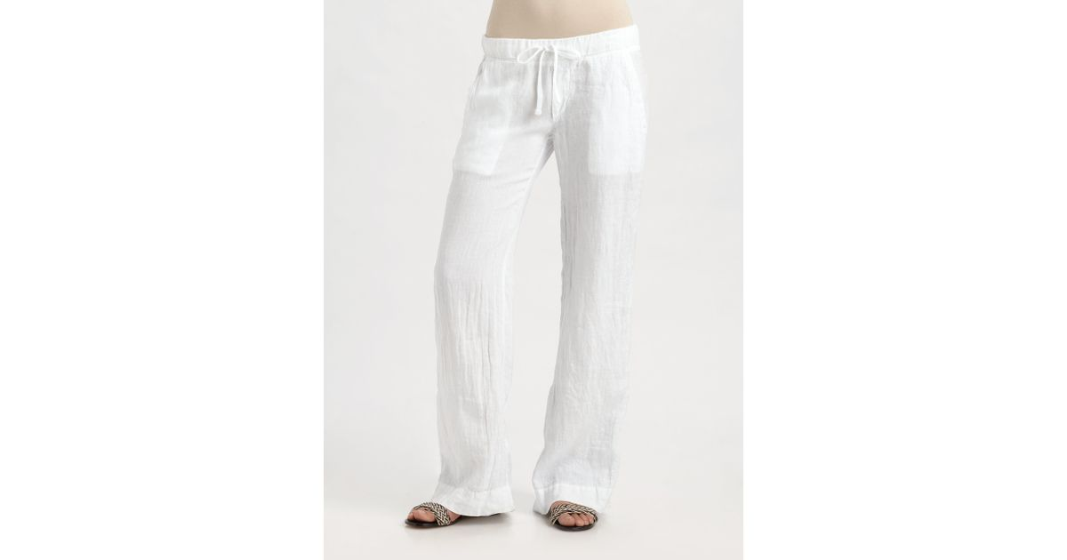 James perse Linen Drawstring Pants in White | Lyst