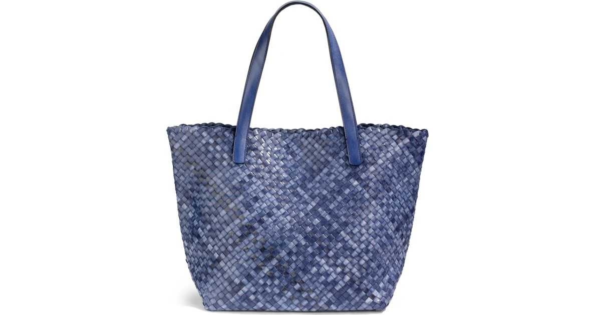 d6f22e575f Massimo Palomba Taormina Woven Leather Tote in Blue - Lyst