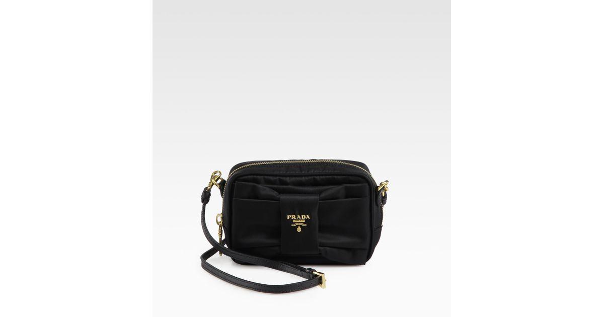 339a89e3c9 Lyst - Prada Tessuto Bow-Detail Cross-Body Bag in Black