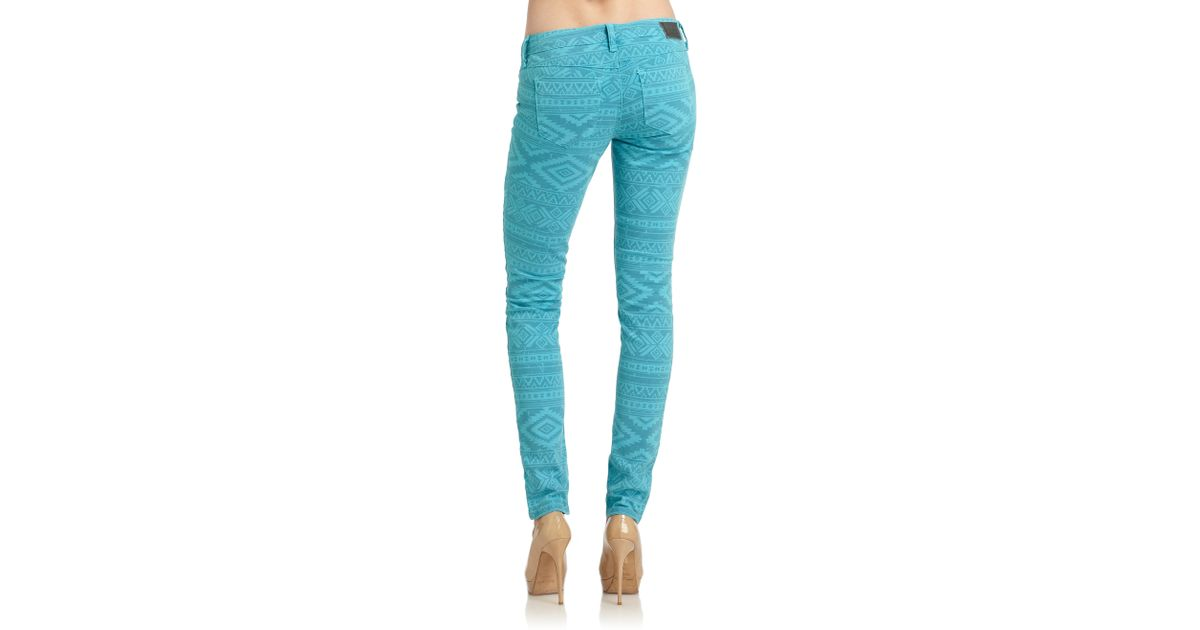 Sold design lab Soho Tribal Print Super Skinny Jeans in Blue | Lyst