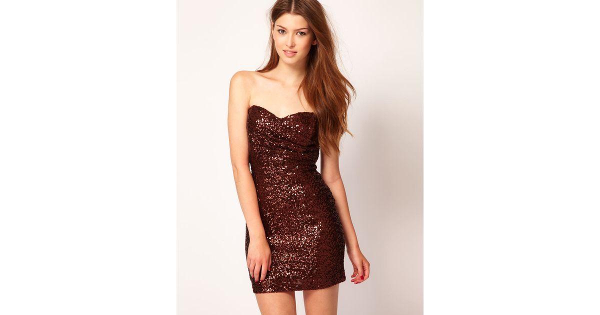 Tfnc london Bandeau Sweetheart Sequin Dress in Metallic | Lyst