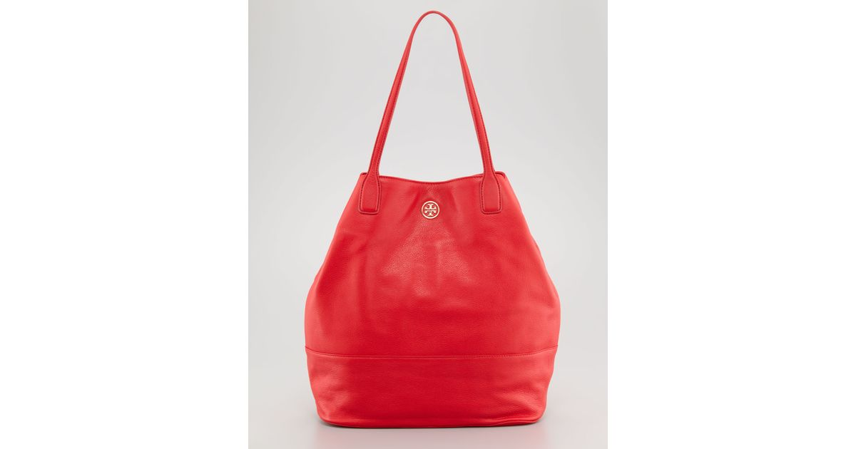 Tory Burch - Red Michelle Pebbled Leather Tote Bag - Lyst bd182f8d919fe