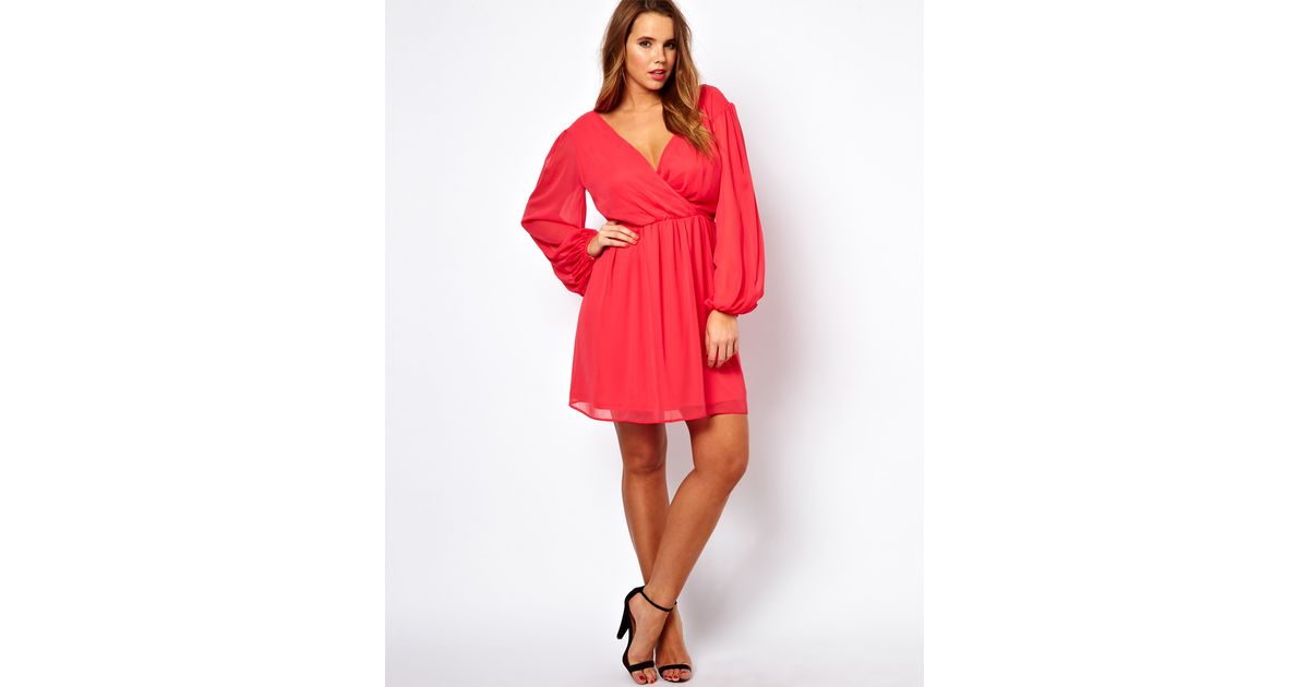 162374b813d ASOS Curve Wrap Dress with Blouson Sleeve and Lace in Red - Lyst