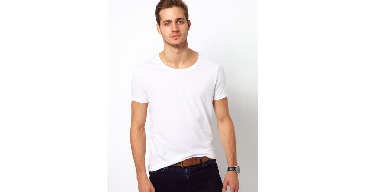 Asos T Shirt With Scoop Neck In White For Men Lyst