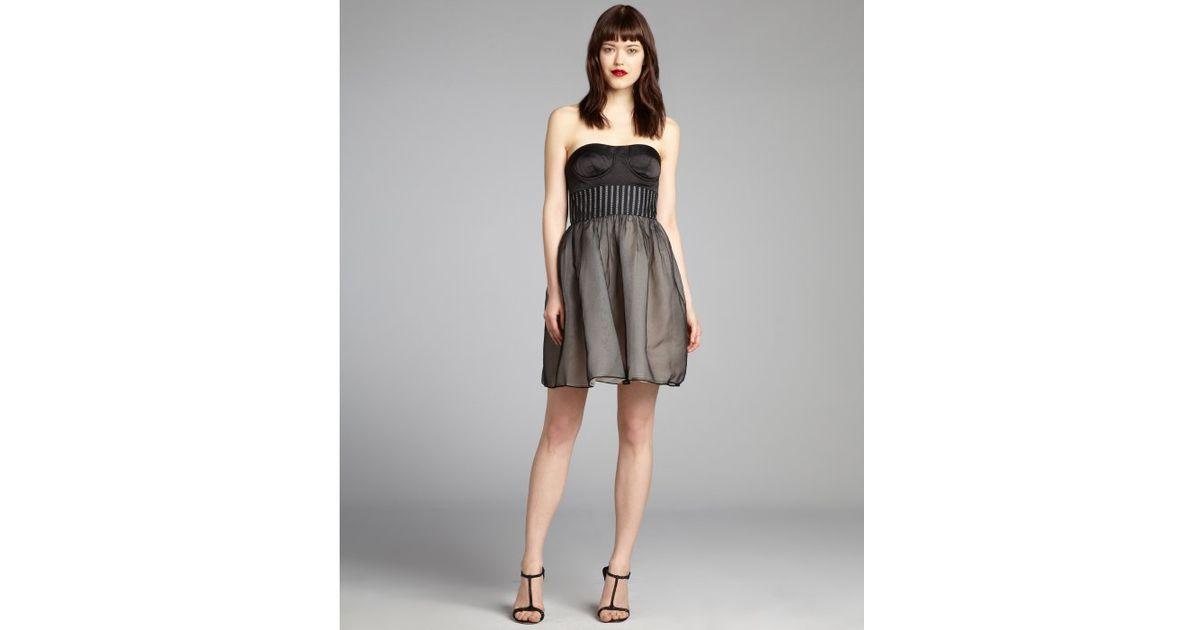 Lyst Vera Lavender Black Silk Organza Flared Bustier Strapless Party Dress In