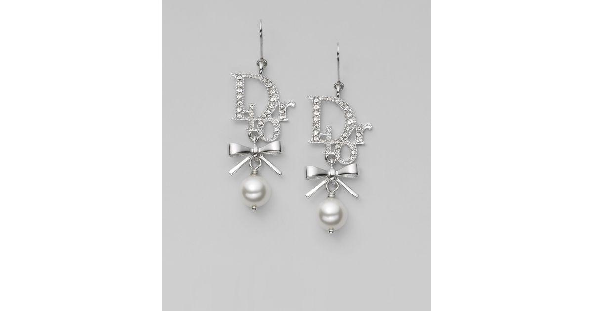 89104dbff58991 Dior Logo Bow Drop Earrings in Metallic - Lyst