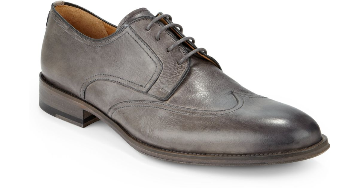 Saks fifth avenue Burnished Leather Wingtip Oxfords in Gray for Men | Lyst
