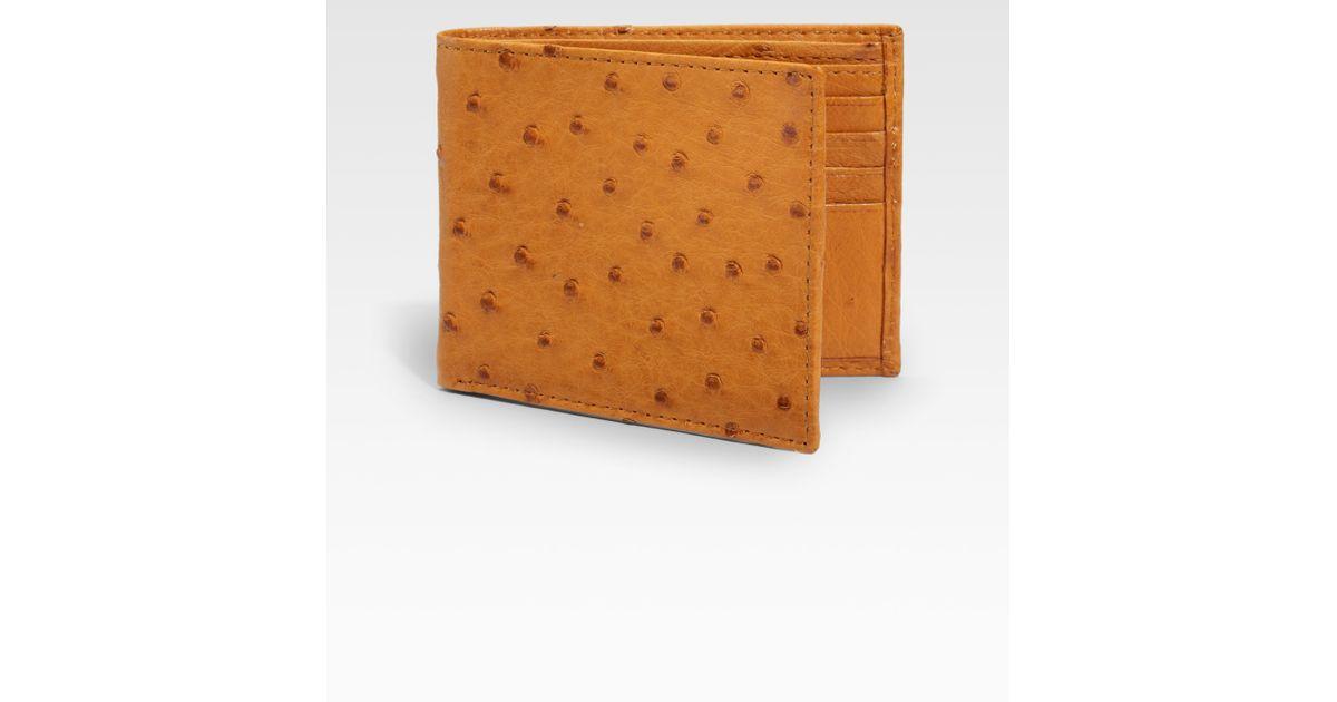 30d5673ff8f8 Saks Fifth Avenue Ostrich Billfold Wallet in Natural for Men - Lyst