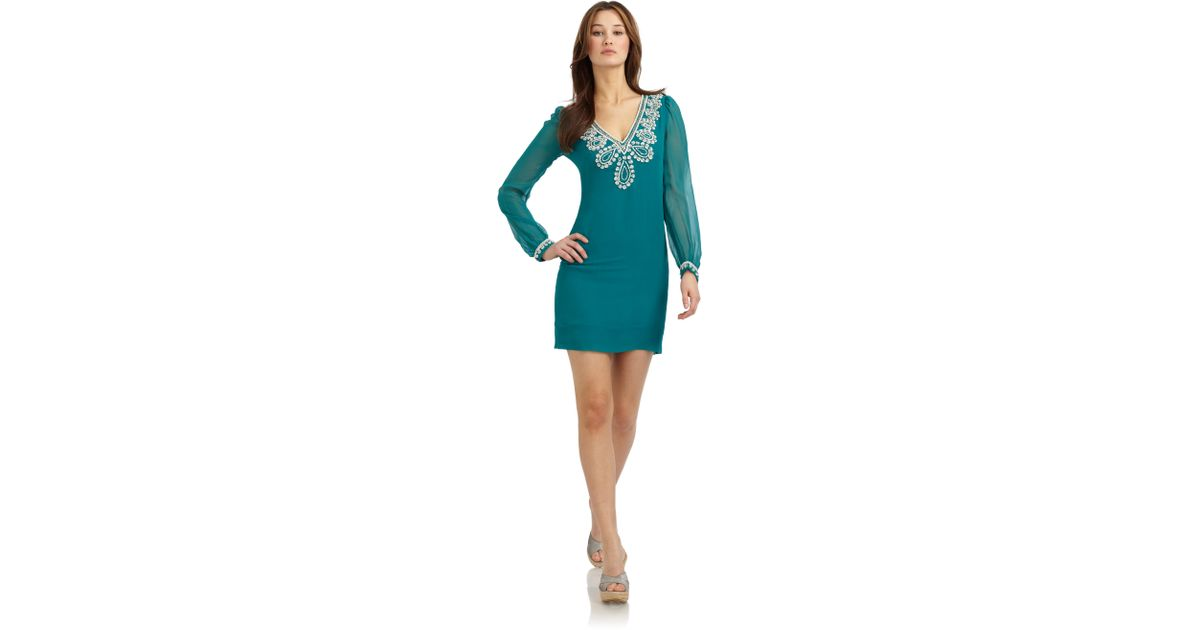 e4ab4c01450 French Connection Bex Beaded Longsleeve Dress in Blue - Lyst