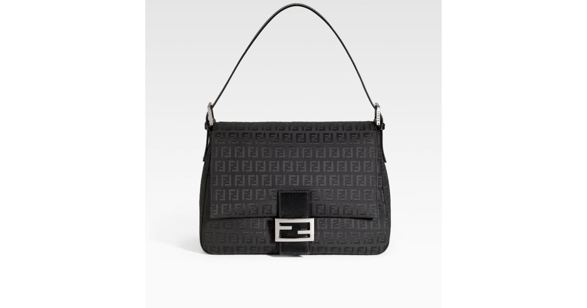 df86e49ff96b Lyst - Fendi Zucchino Mamma Forever Baguette Shoulder Bag in Black