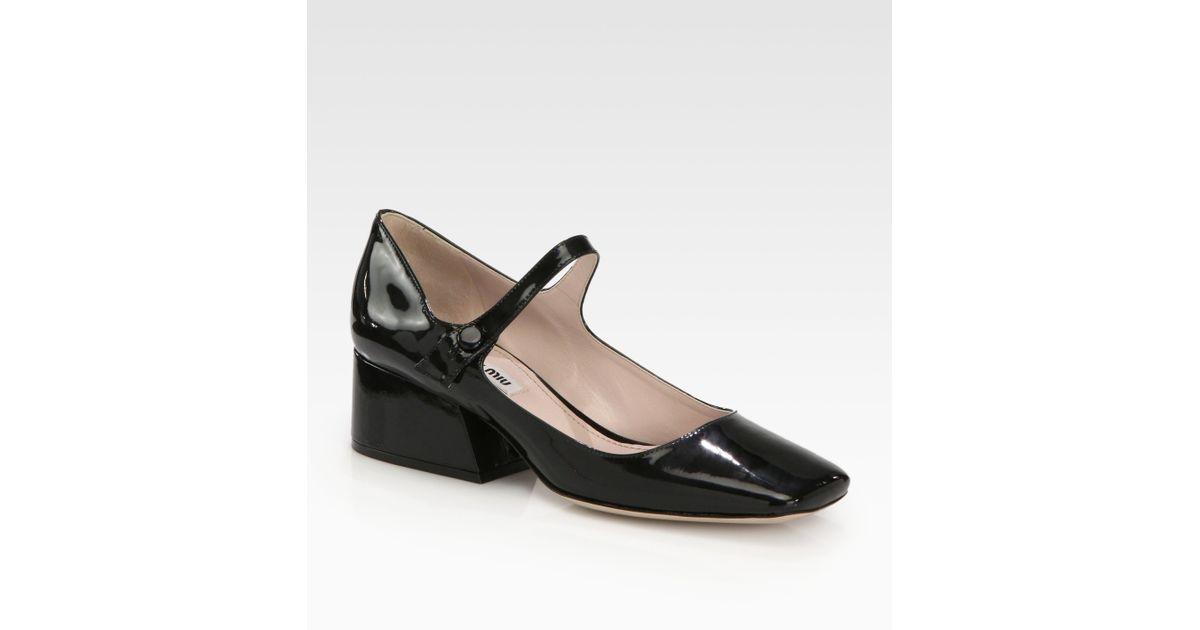 Miu miu Patent Leather Mary Jane Pumps in Black   Lyst