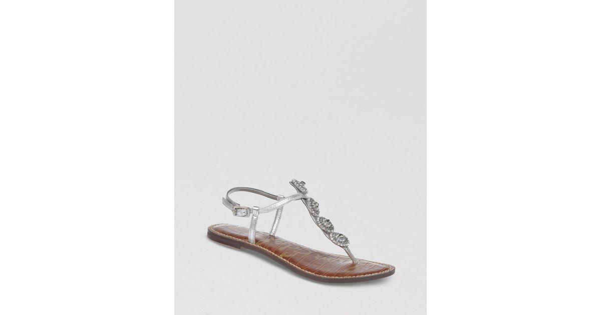 9d4da094b193 Lyst - Sam Edelman Thong Sandals Galia Ornamented Flat in Metallic