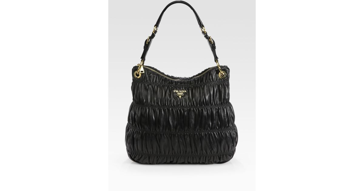 Prada Nappa Gaufre Top Zip Hobo Bag in Black | Lyst