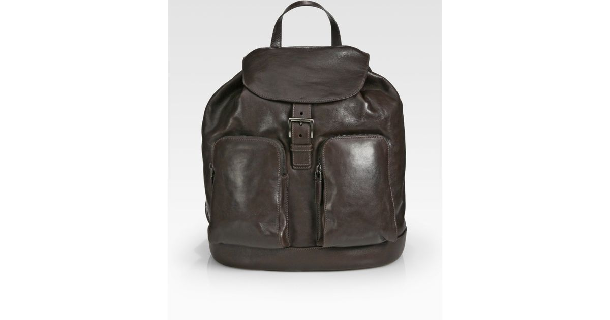6b243c8a8 Prada Glace Leather Backpack in Brown for Men - Lyst