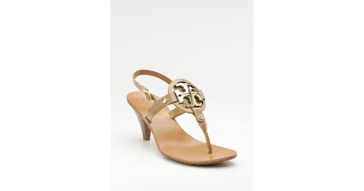 a918661f54e6 Lyst - Tory Burch Holly 2 Kitten Heel Logo Patent Thong Sandals in Natural