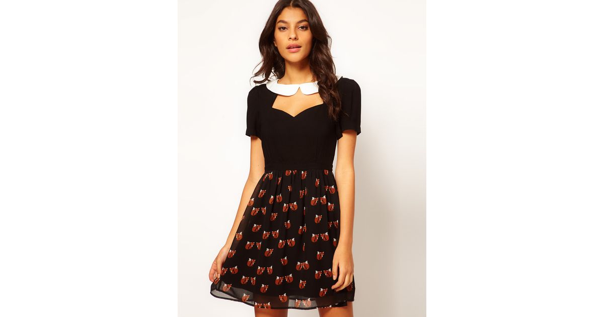 Lyst Sugarhill Foxy Contrast Collar Skater Dress In Black