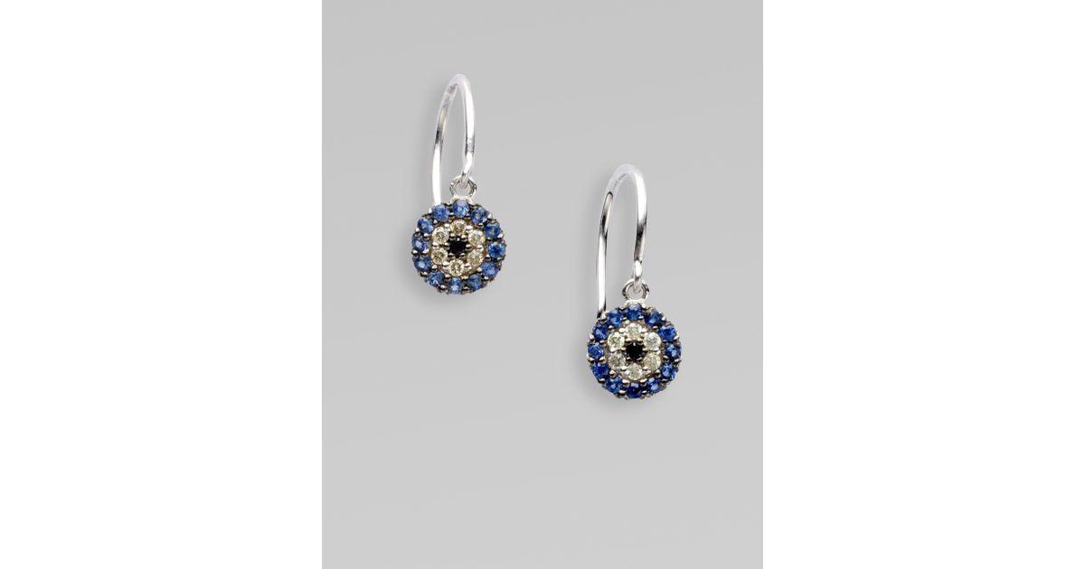 Lyst Sydney Evan Diamond Blue Shire 14k White Gold Evil Eye Earrings In