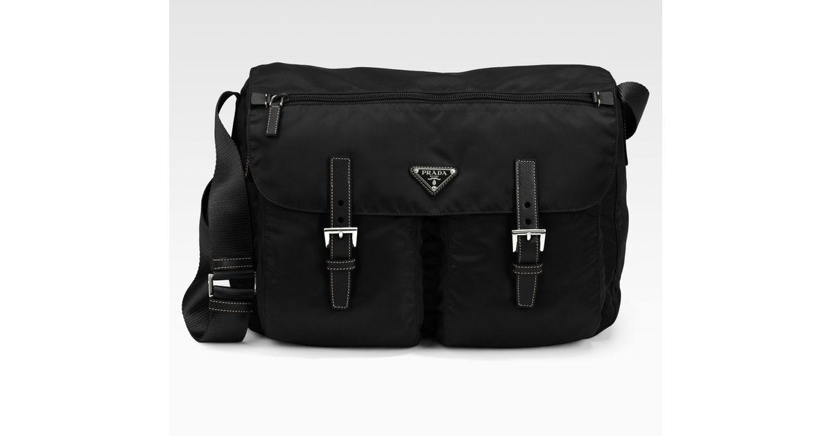 9b203ccb2c0f Lyst - Prada Vela Two-pocket Messenger Bag in Black for Men