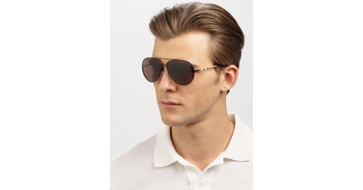 135da5120bbc Burberry Metal Aviator Sunglasses in Black for Men - Lyst