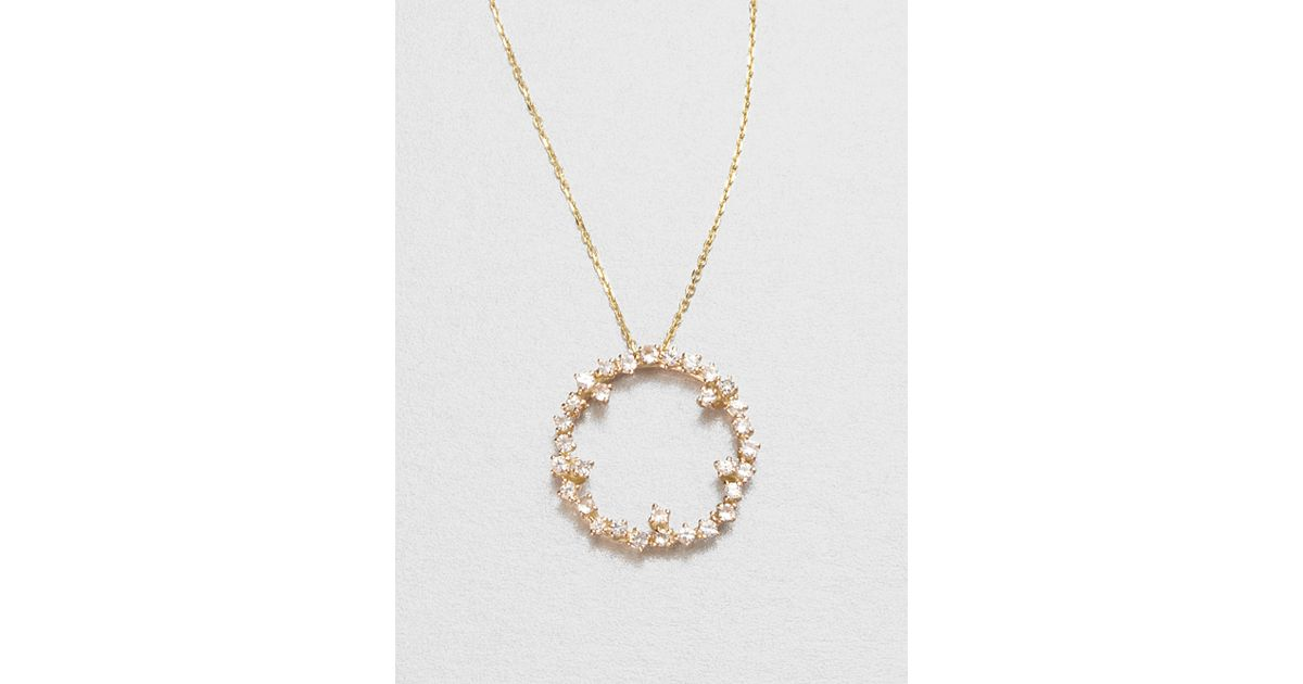 Lyst kalan by suzanne kalan 14k yellow gold white sapphire circle lyst kalan by suzanne kalan 14k yellow gold white sapphire circle pendant necklace in metallic mozeypictures