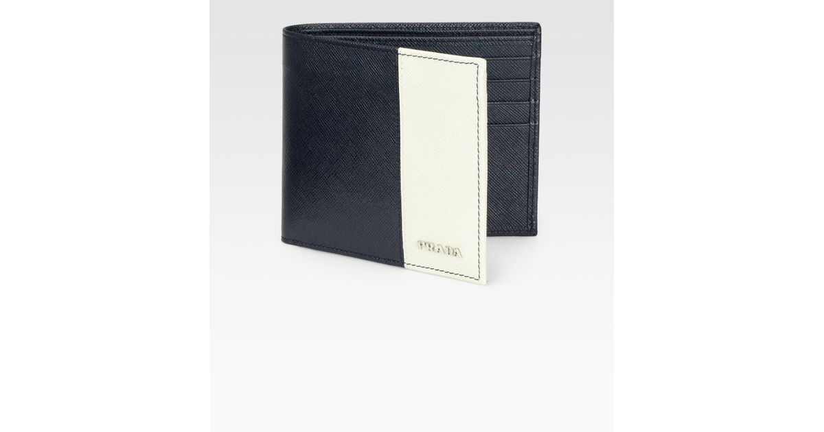 Prada Leather Wallet in Blue for Men (blue-white) | Lyst